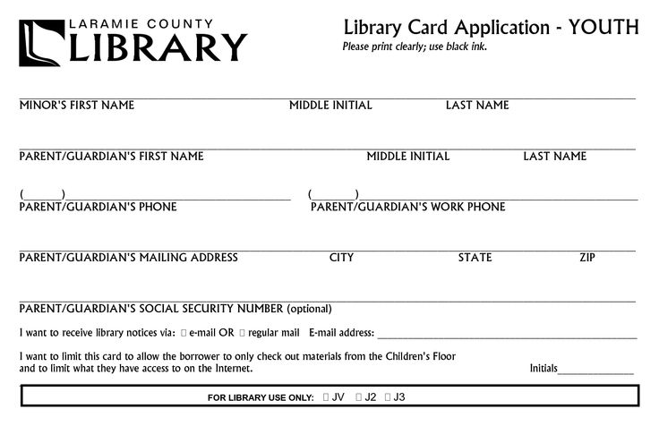 library card form library card application youth in. Black Bedroom Furniture Sets. Home Design Ideas
