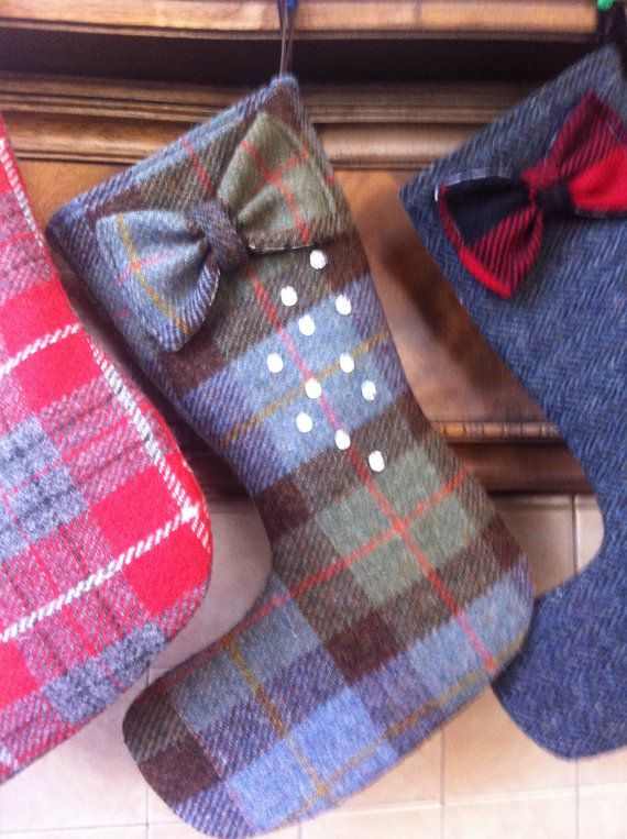 tartan blue Harris tweed Christmas stocking tartan by Scotswhahae