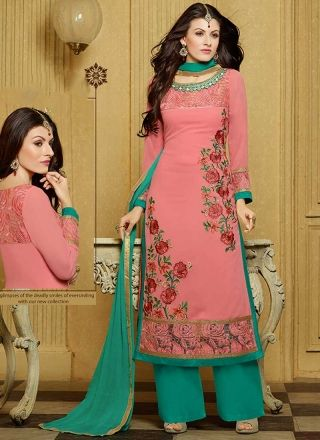 Hot Pink Turquoise Embroidery Work Georgette Palazzo Pakistani Suit http://www.angelnx.com/Salwar-Kameez