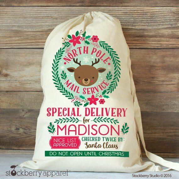 Personalised Christmas Reindeer Santa Sack Stocking Bag XMAS PRESENTS All Sizes