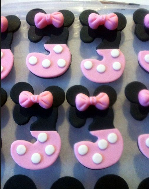 Mickey Mouse Age Number Fondant Cupcake by ClaudiaCupcakeLady