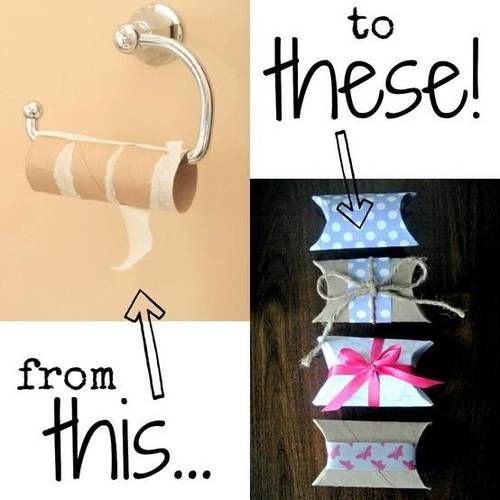 Rolinhos de papel higiênico podem virar caixinhas de embrulho.