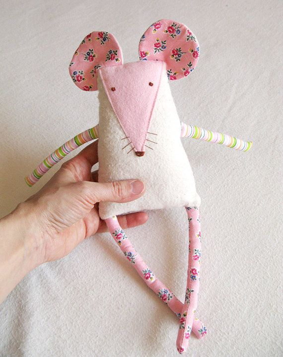 Mouse Plush Recycled Fabric  CUTIE Family by KatkalandCreatures,