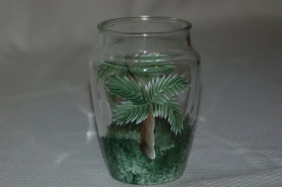 Palm Trees Hand Painted Glass Vase on Etsy, $12.00 ...