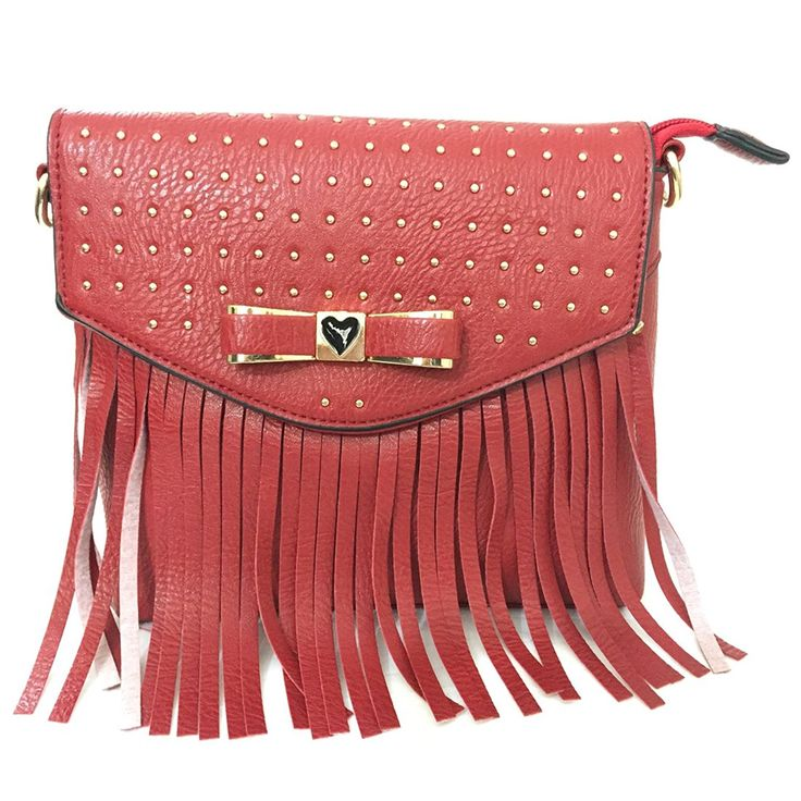 Product description Fringes makes any bag look fancy! Top it off with a bow and this crossbody bag is a style statement must. Crafted from PU, it's super lightweight and just the right size for your phone, lipstick, keys and sunglasses. Closure: Top Closure with zipper . one zipper Pocket inside and one compartments , two wall pouch inside . Trim Embellishments : Fringe and metal studs. Handles/Strap: Adjustable crossbody strap