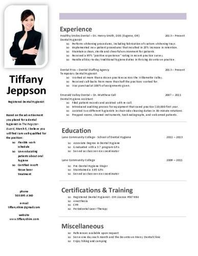33 best Dental Hygiene Resumes images on Pinterest Resume - sample dental hygiene resume