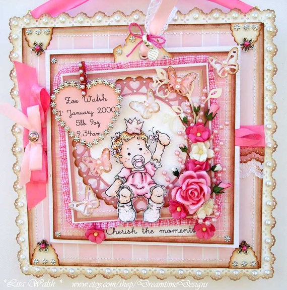 Baby Girl Tilda Card Keepsake - Wall decor - Handmade by Dreamtime Designs