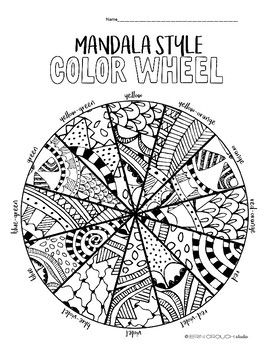 Mandala Style Color Wheel Worksheet Practice for Middle