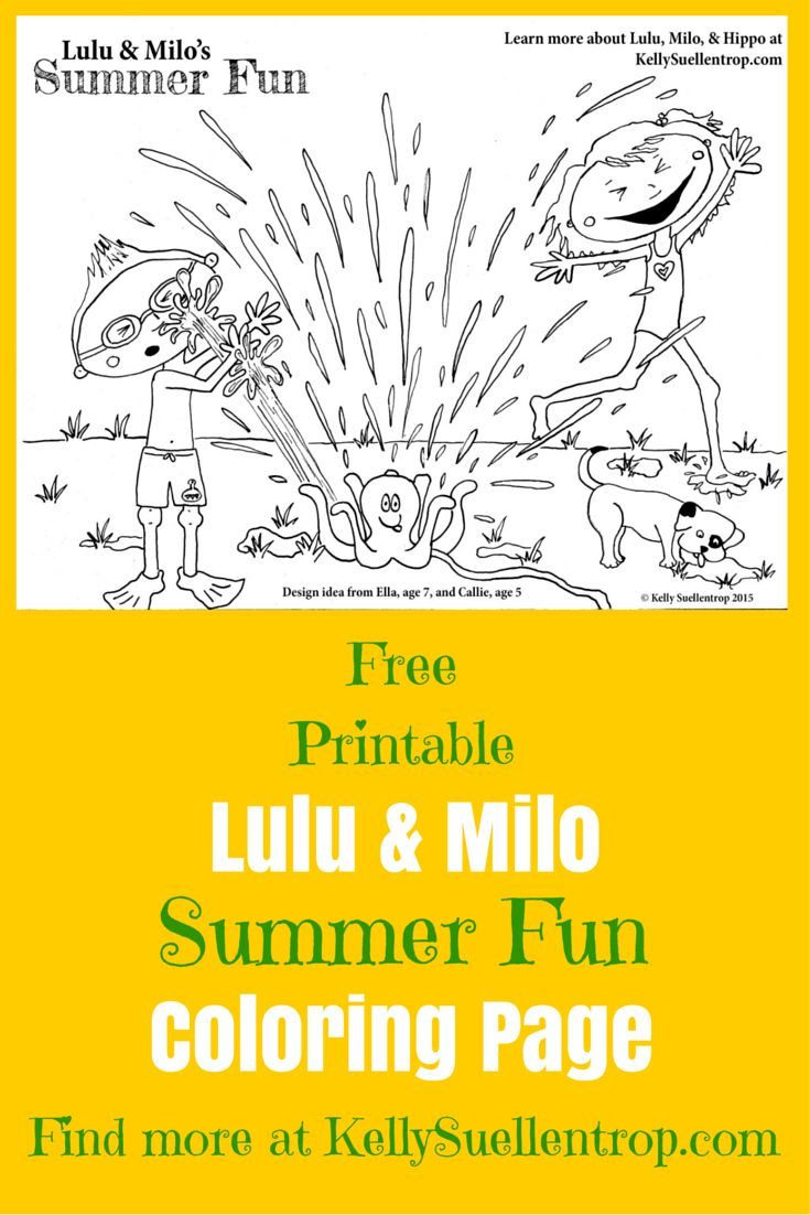 free printable summer fun coloring page featuring lulu milo characters in the childrens book