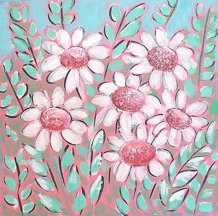 Art: Sweet Daisies no.1 & 2, Original paintings in acrylics on stretched canvas #Abstract