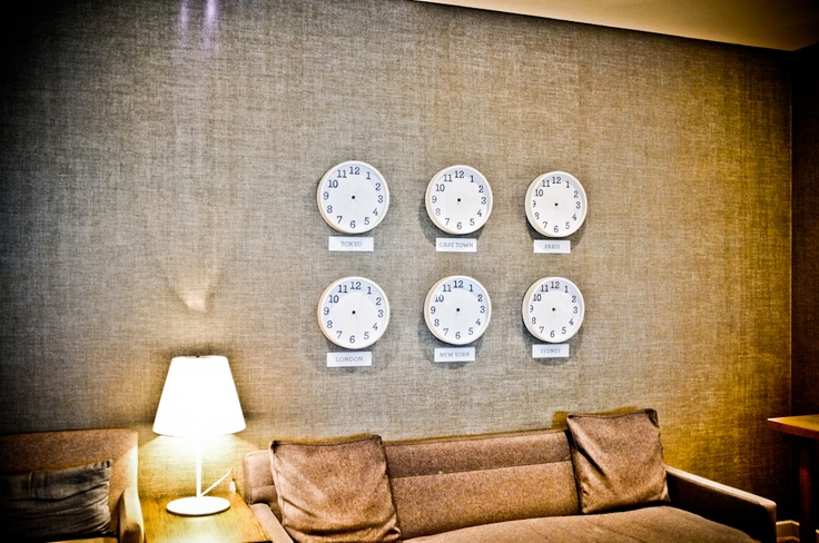 Slow Lounge at Jo'Burg's Tambo Airport. The handsfree clocks made me feel like I was at Franz Kafka International Airport