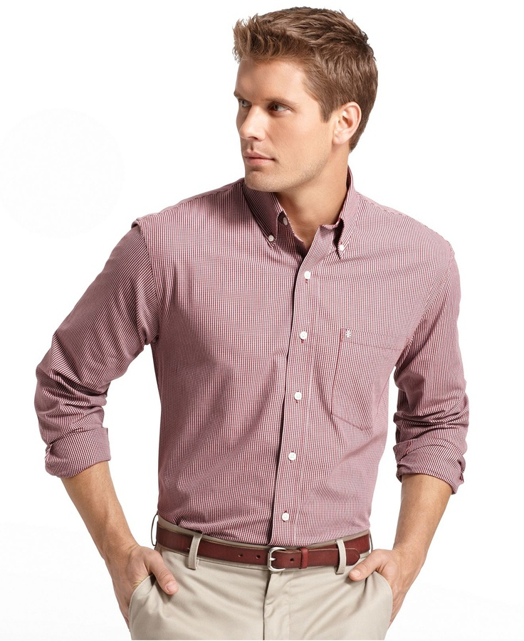 Izod shirt essential check button down shirt mens for Izod button down shirts