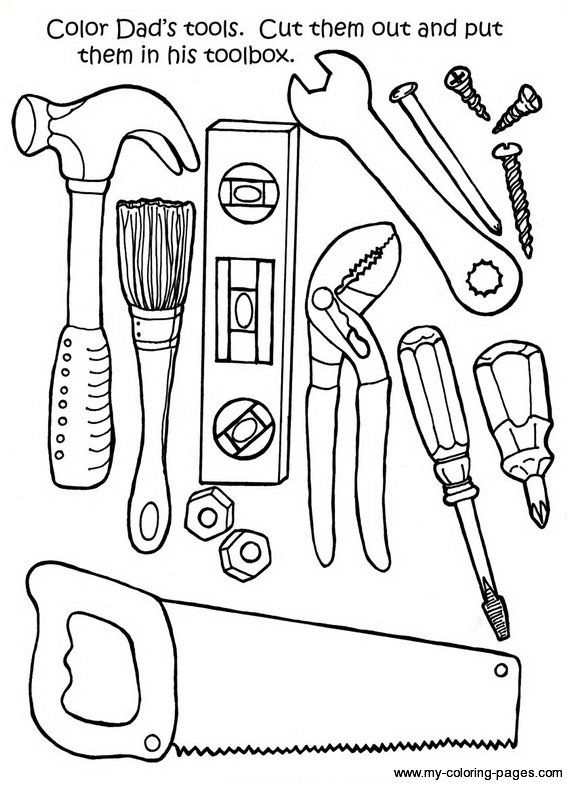 Tools Coloring Pages Father S Day Printable Father S Day Activities Fathers Day Crafts