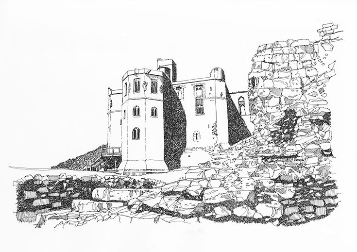 Wark Castle pen and ink