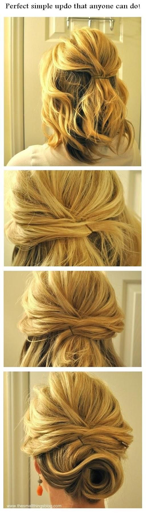 Wedding Hair tips and ideas: Perfect simple updo that anyone can do!