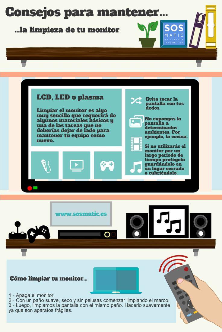 Consejos para mantener limpio el monitor del ordenador #infografia #infographic