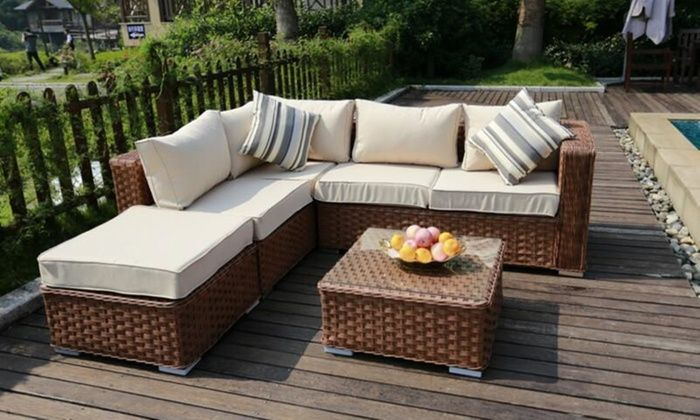 Monaco Five Or Nine Seater Rattan Effect Sofa Set With Optional Cover With Free Delivery Garden Sofa Set Rattan Corner Sofa Corner Sofa Set