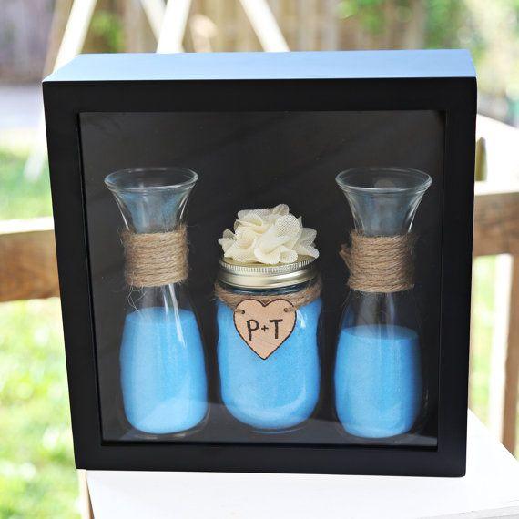 Personalized Rustic Shabby Chic Theme Mason Jar Vase Wedding Unity Sand Ceremony Collection Set with Shadow Box Display Frame Custom Flower