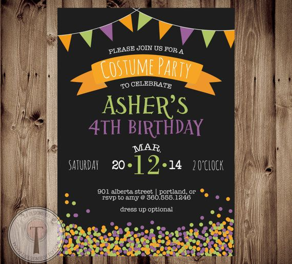Halloween birthday party invite