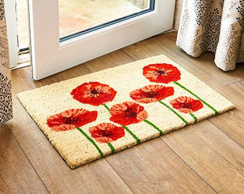 Poppy Coir Doormat £17 Vinyl-backed coir doormat. Made of tough, fade-resistant material that scrubs dirt from shoes and dries quickly when wet.