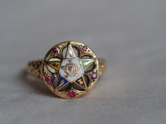 Pristine Vintage 10k Yellow Gold And Enamel Eastern Star Ring Antique Rings Vintage Antique Wedding Rings Antique Engagement Rings