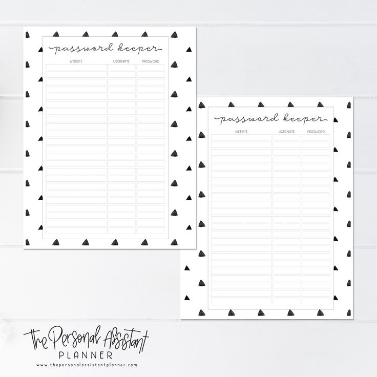 8.5x11 Password Keeper Printable Planner Insert Pages - The Personal Assistant Business Planner