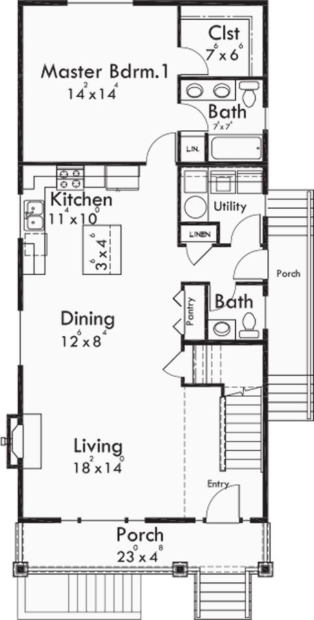 415 best images about 1 000 sq ft or less on pinterest for Narrow lot one story house plans