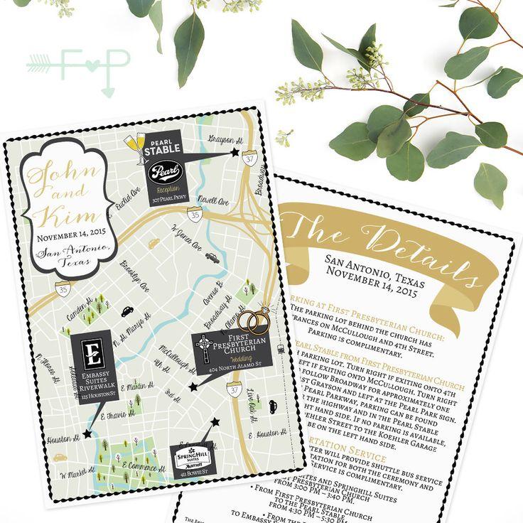 Custom Wedding Map San Antonio Texas Map Texas Map San Antonio MapCustom Map Design Custom Illustrated Map Itinerary Out of town bag FeatheredHeartPrints