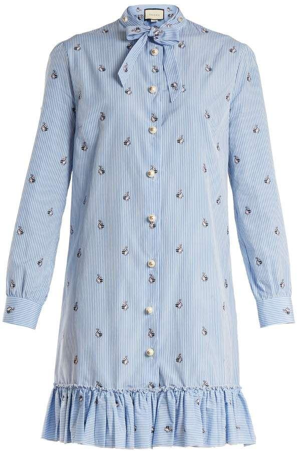 b96f41540 GUCCI Bunny fil coupé striped cotton-poplin dress | StartStyle ...
