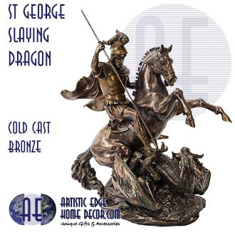 St George Slaying Dragon - Bronze Figurine