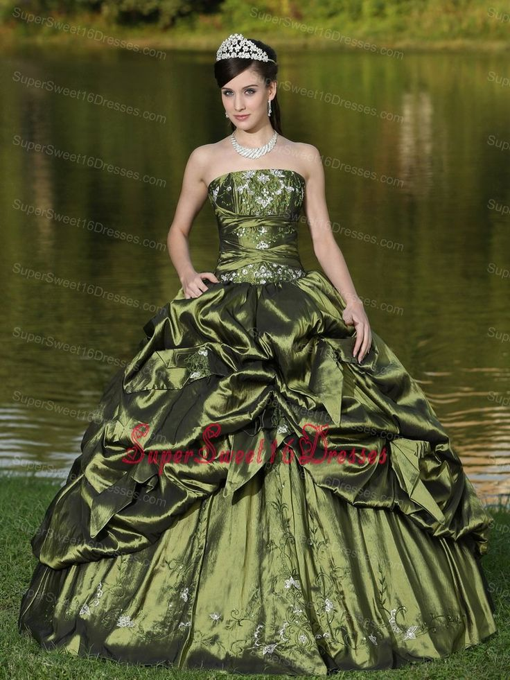 Custom Size Strapless Sweet 16 Dress Beaded Decorate With Olive Green