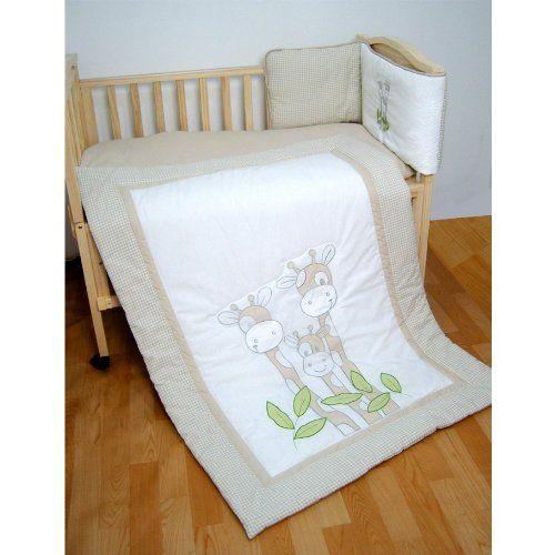 Baby Unisex Beige Giraffe Cot Bedding Quilt & Bumper Set ...