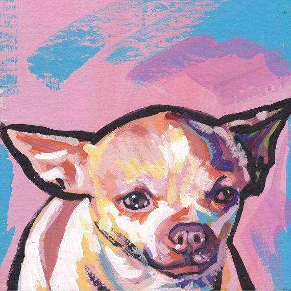 short haired Chihuahua modern Dog art print pop by BentNotBroken