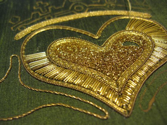 Goldwork Claddagh by What Katie Threads Next, via Flickr