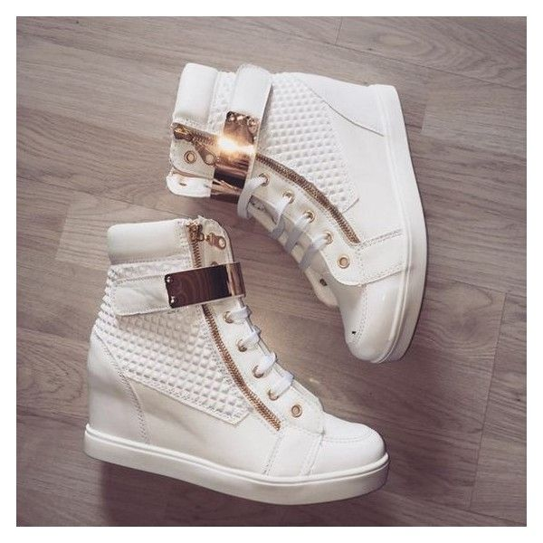 Shoes: gold and white high top gym s ❤ liked on Polyvore featuring shoes, sneakers, white trainers, gold hi top sneakers, gold high tops, white high top shoes and white high tops