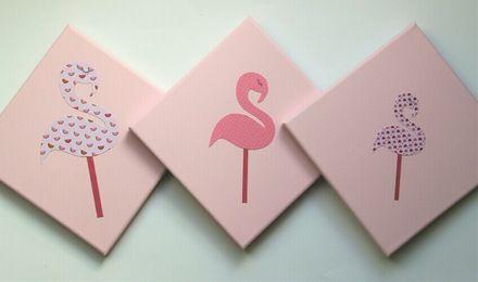 Little-klo : Déco Tryptique FLAMANTS ROSES - Papier sur toile