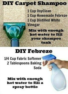 Diy carpet cleaner - 1 cup OxyClean, 1 cup homemade Febreze, 1 cup distilled white vinegar and enough warm water to fill your carpet shampooer