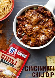 Cincinnati brings you this classic chili dip recipe! Mix lean ground beef with Original Chili Seasoning Mix and cinnamon. Top with cheddar cheese, onion and serve warm. Master your dip dunking skills with pasta chips or potato chips in this tasty party dish.