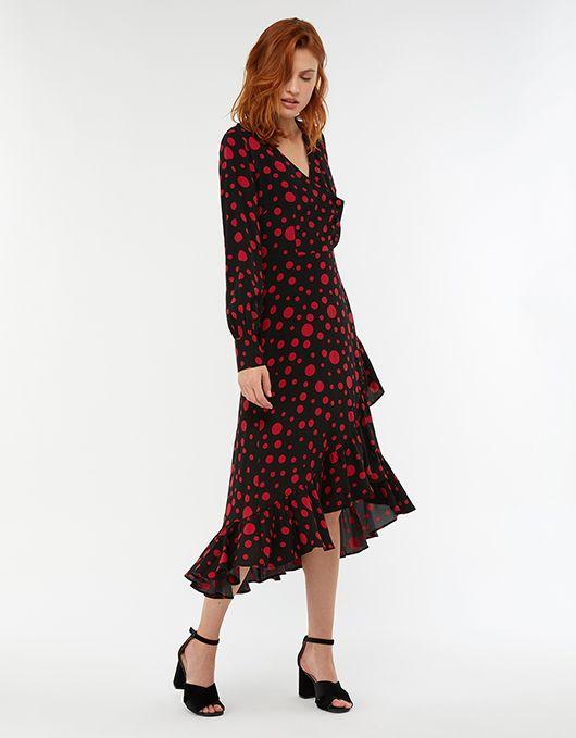 7fb5ad201cae1 Scarlett Spot Print Midi Dress | Black | UK 8 / US 4 / EU 36 | 6494490108 |  Monsoon