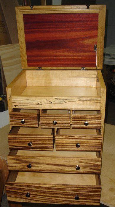 Tool Box by CanuckGal -- Homemade tool box intended to house specialty tools for a scroll saw. Constructed on an MDF carcass and utilizing exotic woods including walnut, spalted maple, and zebra wood veneer. http://www.homemadetools.net/homemade-tool-box