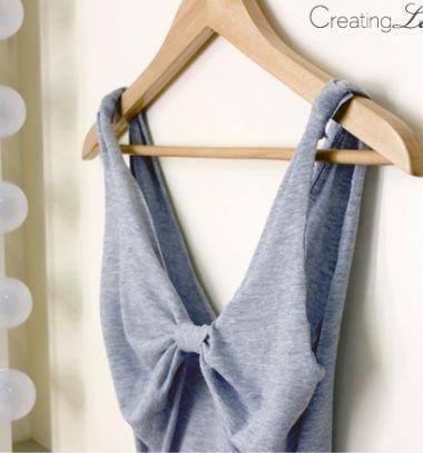 DIY No-sew bow-back summer tank top from a T-shirt // Masnis hátú ujjatlan nyári top pólóból - kreatív ruha átalakítás // Mindy - craft tutorial collection