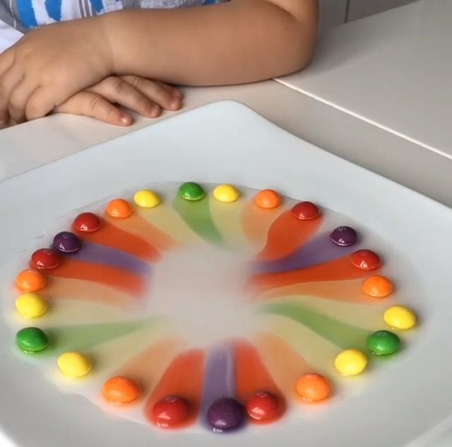 Skittles experiment. Add warm water and watch the rainbow appear.