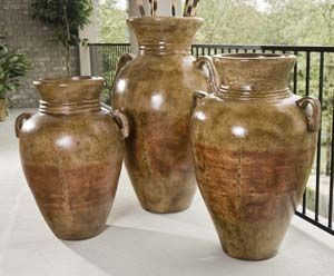 Antique Orange Floor Urn  Multiple Colors available