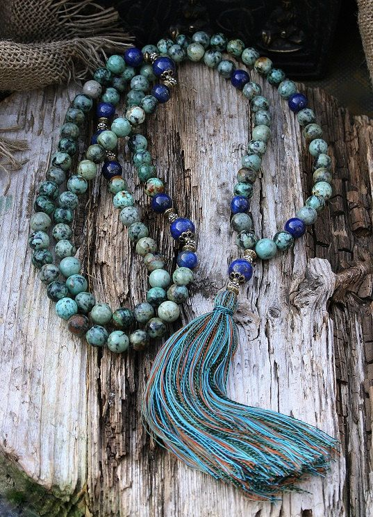 African turquoise mala necklace - look4treasures on Etsy, $94.95