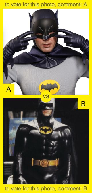 To vote for top photo comment A, to vote for bottom photo comment B. See results at http://swingvoteapp.com/#!polls/1448. Click here http://swingvoteapp.mobi/ to install Swingvote mobile app and create your own polls.
