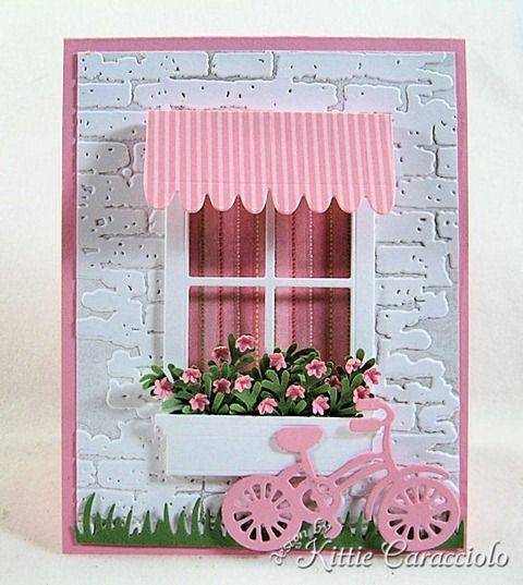 Paper: White, Pretty in Pink, Retired Stampin' Up! Designer, Wild Wasabi Ink: Going Gray Accessories: Savvy Stamps Awning and Bicycle, Poppy Stamps Small Madison Window , Punch Bunch Medium Fern, Tim Holtz Bricked Embossing Folder, Memory Box Flower Mound, My Favorite Things Fresh Cut Grass, Brayer, QuickStik, Glossy Accents, Glue Dots, Mounting Tape, Stylus, Mat, ATG,