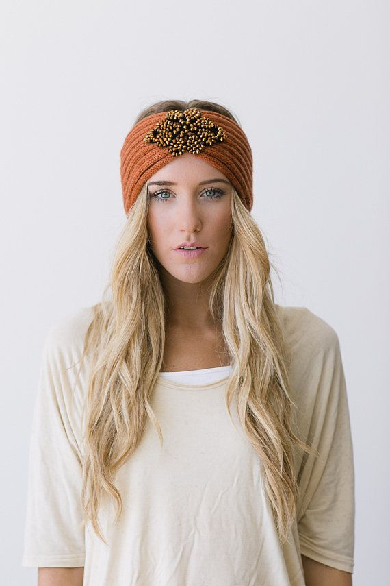 Crystalline BOHO Knitted Jeweled Headband RUST by ThreeBirdNest, $38.00