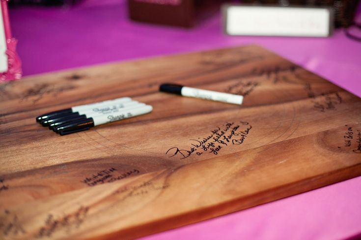 Use a cutting board as a guest book. Would be perfect on our Bamboo Carving Board!