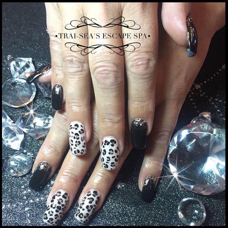 Black & Silver and Leopard print nail art by Trai-Sea's Escape Spa