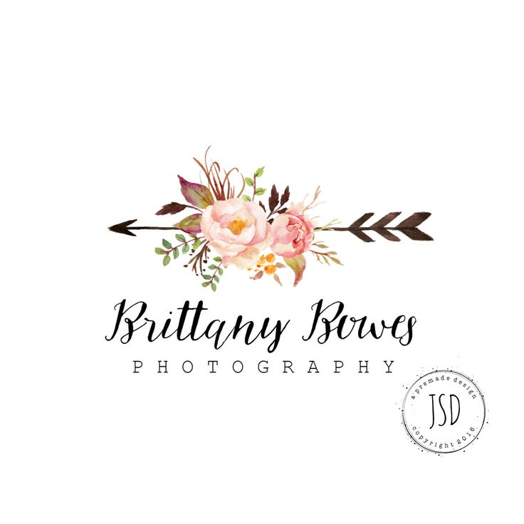 Flower Logo Design- Arrow Logo-Photography Logo-Small Business Logo by JupiterStreetDesigns on Etsy (null)